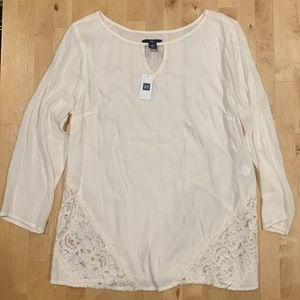 NWT GAP Sheer Cream Blouse with Lace Details Small